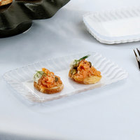 Fineline Flairware 257-CL Clear 5 inch x 7 inch Plastic Snack Tray - 252/Case