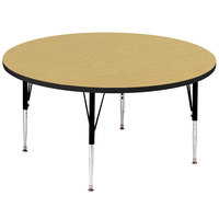 Correll A60-RND-16 60 inch Round 19 inch - 29 inch Fusion Maple Adjustable Height High-Pressure Top Activity Table