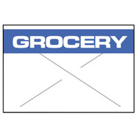 Garvey 1812-03370 1812 Series 11/16 inch x 1/2 inch White / Blue GROCERY 1275-Count One-Line Cross-Cut Pricemarker Label Roll - 11/Pack