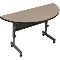Correll FT2448HR-54 24 inch x 48 inch Savannah Sand Half Round Premium Laminate High Pressure Deluxe Flip Top Table