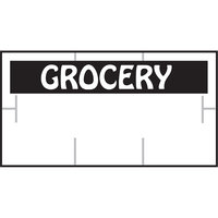 Garvey 1910-85100 1910 Series 3/4 inch x 3/8 inch White / Black GROCERY 1065-Count Three-Line Cross-Cut Pricemarker Label Roll - 16/Pack