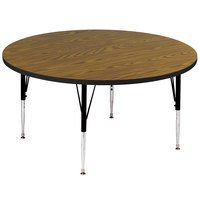 Correll A48-RND-06 48 inch Round 21 inch - 30 inch Medium Oak Adjustable Height High-Pressure Top Activity Table