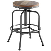 Lancaster Table & Seating Screw Top Adjustable Height Clear Coat Barstool with Antique Driftwood Seat