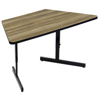 Correll CSA3060TR-53 30 inch x 60 inch Trapezoid Premium Laminate 21 inch - 29 inch Colonial Hickory Adjustable Height High-Pressure Top Computer Table