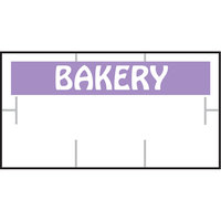 Garvey 1910-85062 1910 Series 3/4 inch x 3/8 inch White / Purple BAKERY 1065-Count Three-Line Cross-Cut Pricemarker Label Roll - 16/Pack