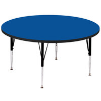 Correll A48-RND-37 48 inch Round 19 inch - 29 inch Blue Adjustable Height High-Pressure Top Activity Table