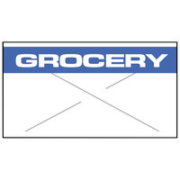 Garvey 2212-05310 2212 Series 7/8 inch x 1/2 inch White / Blue GROCERY 1225-Count One-Line Cross-Cut Pricemarker Label Roll - 9/Pack