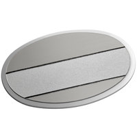 Cawley 1 3/4 inch x 2 1/2 inch Customizable Silver Premium Metal Oval Nametag