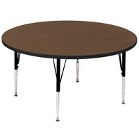 Correll A48-RND-01 48 inch Round 21 inch - 30 inch Walnut Adjustable Height High-Pressure Top Activity Table
