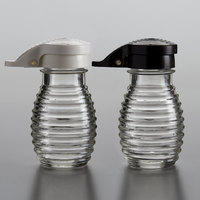 Tablecraft BH2MPBWKT 2 oz. Glass Beehive Shakers with Black / White Moisture Proof ABS Tops   - 48/Case