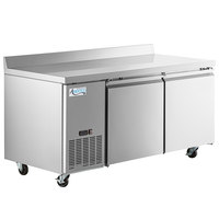 Avantco SS-WD-2R 67 inch Stainless Steel Extra Deep Worktop Refrigerator with 3 1/2 inch Backsplash