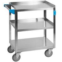 Carlisle UC3031524 3 Shelf Stainless Steel Utility Cart - 24 inch x 15 1/2 inch x 32 1/2 inch