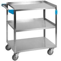 Carlisle UC3031827 3 Shelf Stainless Steel Utility Cart - 27 inch x 18 inch x 32 1/2 inch