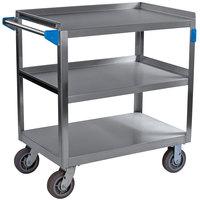 Carlisle UC7032133 3 Shelf Stainless Steel Utility Cart - 33 inch x 21 inch x 32 1/2 inch