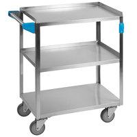 Carlisle UC5031524 3 Shelf Stainless Steel Utility Cart - 24 inch x 15 1/2 inch x 32 1/2 inch