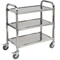 Carlisle UC4031529 Knocked Down 3 Shelf Stainless Steel Utility Cart - 29 1/2 inch x 17 1/2 inch x 35 3/4 inch