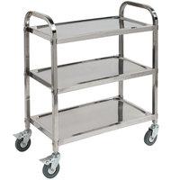Carlisle UC4031733 Knocked Down 3 Shelf Stainless Steel Utility Cart - 33 3/8 inch x 15 5/8 inch x 33 1/2 inch