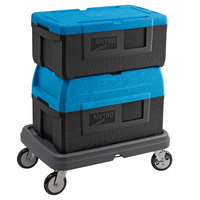 Metro Mightylite Insulated EPP Pan Carrier Kit with Blue Top-Loading 3 Pan Carrier, BigBoy Blue Top-Loading 5 Pan Carrier, and Dolly