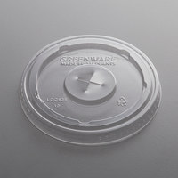 Fabri-Kal LGC636 Greenware 32 oz. Compostable Clear Plastic Lid with Straw Slot - 100/Pack