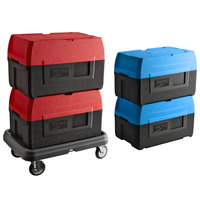 Metro Mightylite BigBoy Insulated Top-Loading EPP Pan Carrier Kit with (2) Blue 5 Pan Carriers, (2) Red 5 Pan Carriers, and Dolly