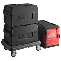 Metro Mightylite Insulated EPP Pan Carrier Kit with (2) BigBoy Black Top-Loading 5 Pan Carriers, Front-Loading 4 Pan Carrier, and Dolly