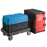 Metro Mightylite Insulated EPP Pan Carrier Kit with BigBoy Blue Top-Loading 5 Pan Carrier, Front-Loading 6 Pan Carrier, and Dolly