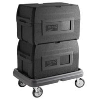 Metro Mightylite BigBoy Black Insulated Top-Loading EPP Pan Carrier Kit with (2) 5 Pan Carriers and Dolly