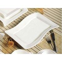 CAC SOH-12 Soho 10 1/2 inch x 6 3/4 inch American White (Ivory / Eggshell) Rectangular Stoneware Platter - 24 / Case