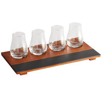 Acopa Chalkboard Tray with Tulip Tasting Glasses