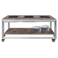 Eastern Tabletop HT4800G Hub Buffet 66 inch x 30 3/4 inch x 32 1/4 inch Grey Induction Banquet Table