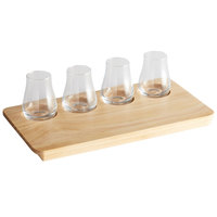 Acopa Natural Flight Tray with Tulip Tasting Glasses