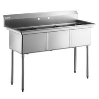 Steelton 59 1/2 inch 18-Gauge Stainless Steel Three Compartment Commercial Sink without Drainboard - 18 inch x 18 inch x 12 inch Bowls