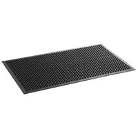Choice 3' x 5' Black Rubber Anti-Fatigue Floor Mat with Beveled Edge - 1/2 inch Thick