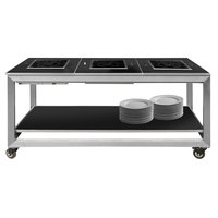 Eastern Tabletop HT4805B Hub Buffet 66 inch x 30 3/4 inch x 32 1/4 inch Black Induction Banquet Table