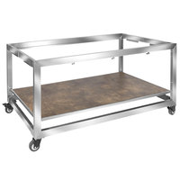 Eastern Tabletop ST5900 Hub Buffet 66 inch x 30 3/4 inch x 32 1/4 inch Brushed Stainless Steel Foldaway Table Frame