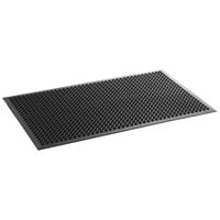 Lavex Janitorial 3' x 5' Black Rubber Anti-Fatigue Floor Mat with Beveled Edge - 1/2 inch Thick