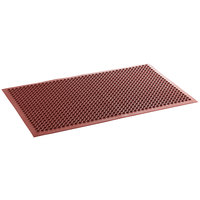 Lavex Janitorial 3' x 5' Red Rubber Grease-Resistant Anti-Fatigue Floor Mat with Beveled Edge - 1/2 inch Thick