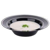 Fineline Silver Splendor 512-BKS Black 12 oz. Plastic Soup Bowl with Silver Bands - 15/Pack