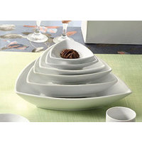 CAC SHA-T21 Sushia 46 oz. Super White Triangular Porcelain Bowl - 12/Case
