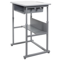 Luxor STUDENT-M 27 1/2 inch x 19 1/2 inch Medium Gray Adjustable Height Student Standing Desk with Gray Steel Frame