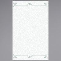 8 1/2 inch x 14 inch Menu Paper - Green Swirl Border - 100/Pack
