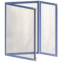 H. Risch, Inc. TEDQ Deluxe Sewn 5 1/2 inch x 8 1/2 inch 6 View Foldout Tinted Vinyl Menu Cover