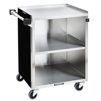 Lakeside 610B Black Vinyl 3 Shelf Stainless Steel Utility Cart - 27 3/4 inch x 16 1/2 inch x 32 3/4 inch