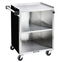 Lakeside 610B Black Vinyl 3 Shelf Stainless Steel Utility Cart - 27 3/4 inch x 16 1/2 inch x 32 3/4 inch