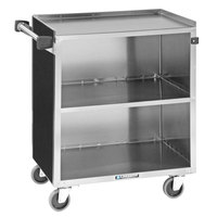 Lakeside 622B Black Laminate 3 Shelf Stainless Steel Utility Cart - 31 3/4 inch x 19 inch x 33 7/8 inch