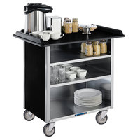 Lakeside 681B Black Vinyl 4 Shelf Stainless Steel Beverage Service Cart - 24 inch x 58 3/8 inch x 38 1/4 inch