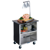 Lakeside 646B Black Laminate 3 Shelf Stainless Steel Utility Cart - 22 inch x 36 inch x 36 5/8 inch