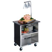 Lakeside 646B Black Laminate 3 Shelf Stainless Steel Utility Cart - 22 inch x 36 inch x 36 5/8 inch