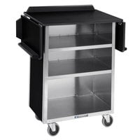 Lakeside 672B Black Vinyl 4 Shelf Stainless Steel Beverage Service Cart with Drop Leaves - 21 inch x 33 1/8 inch x 38 1/4 inch