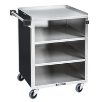 Lakeside 615B Black Laminate 4 Shelf Stainless Steel Utility Cart - 27 3/4 inch x 16 1/2 inch x 32 3/4 inch